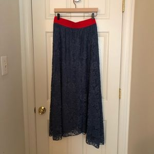 Blue lularoe Lucy lace skirt NWT